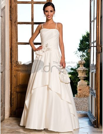 Floor-length Satin Crystal Detailing Wedding Dress