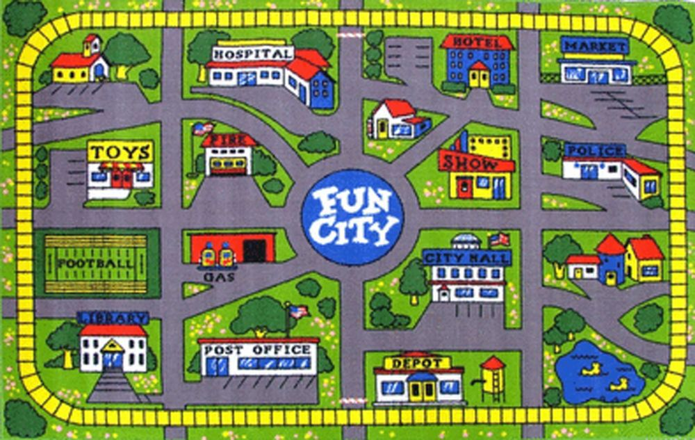 Kids Play Mat FUN CITY Track 100cm x 150cm Town Childrens Floor New Activity Mat