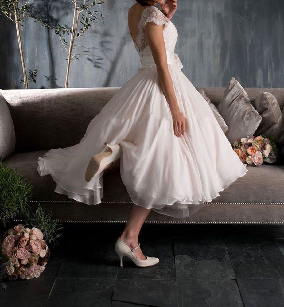 White / Ivory Short Sleeve Vintage Lace Short Wedding