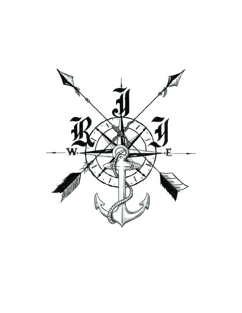 f6786bc2fae9e Anchor Tattoo Men, Anchor Tattoo Design, Compass Tattoo Design, Compass  Rose Tattoo,