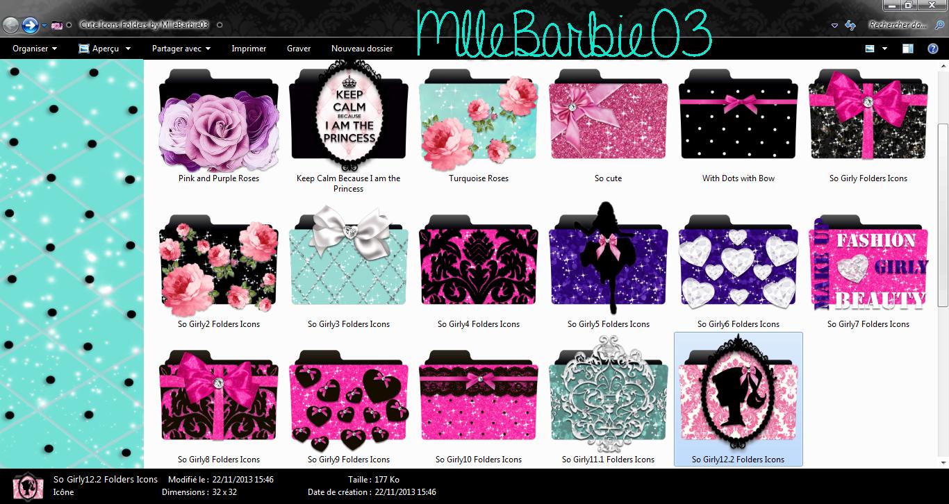 Cute Icons Folders by MlleBarbie03 by mllebarbie03