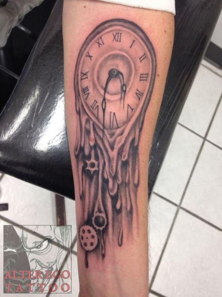 f0ac13954 Melted Clock Tattoo | Heart | Melting clock, Clock tattoo design ...