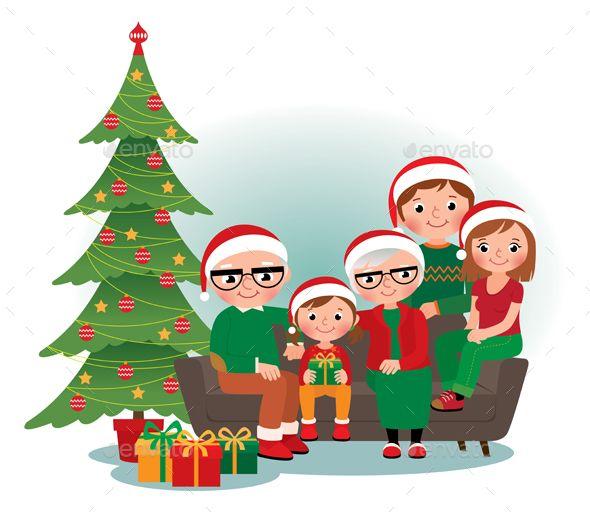Christmas Family Portrait Christmas Vectors Portrait Cartoon Family Christmas