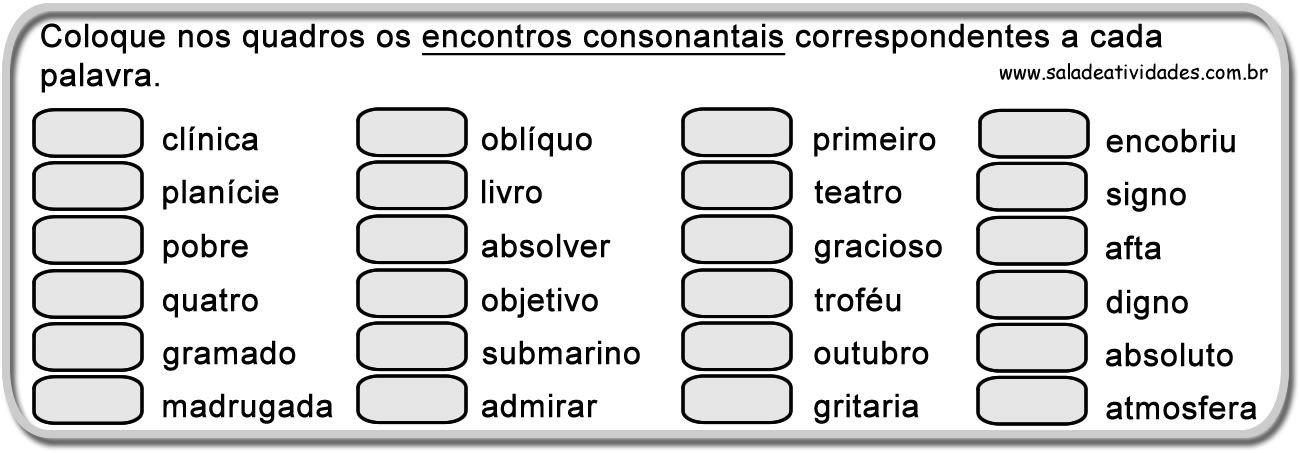 Encontro Consonantal E Digrafo Com Imagens Encontro