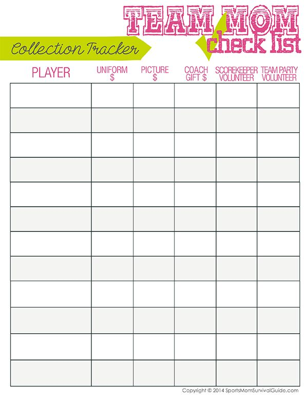 Sports TeamMom Duty Checklist  Team Mom Collection And Cheer