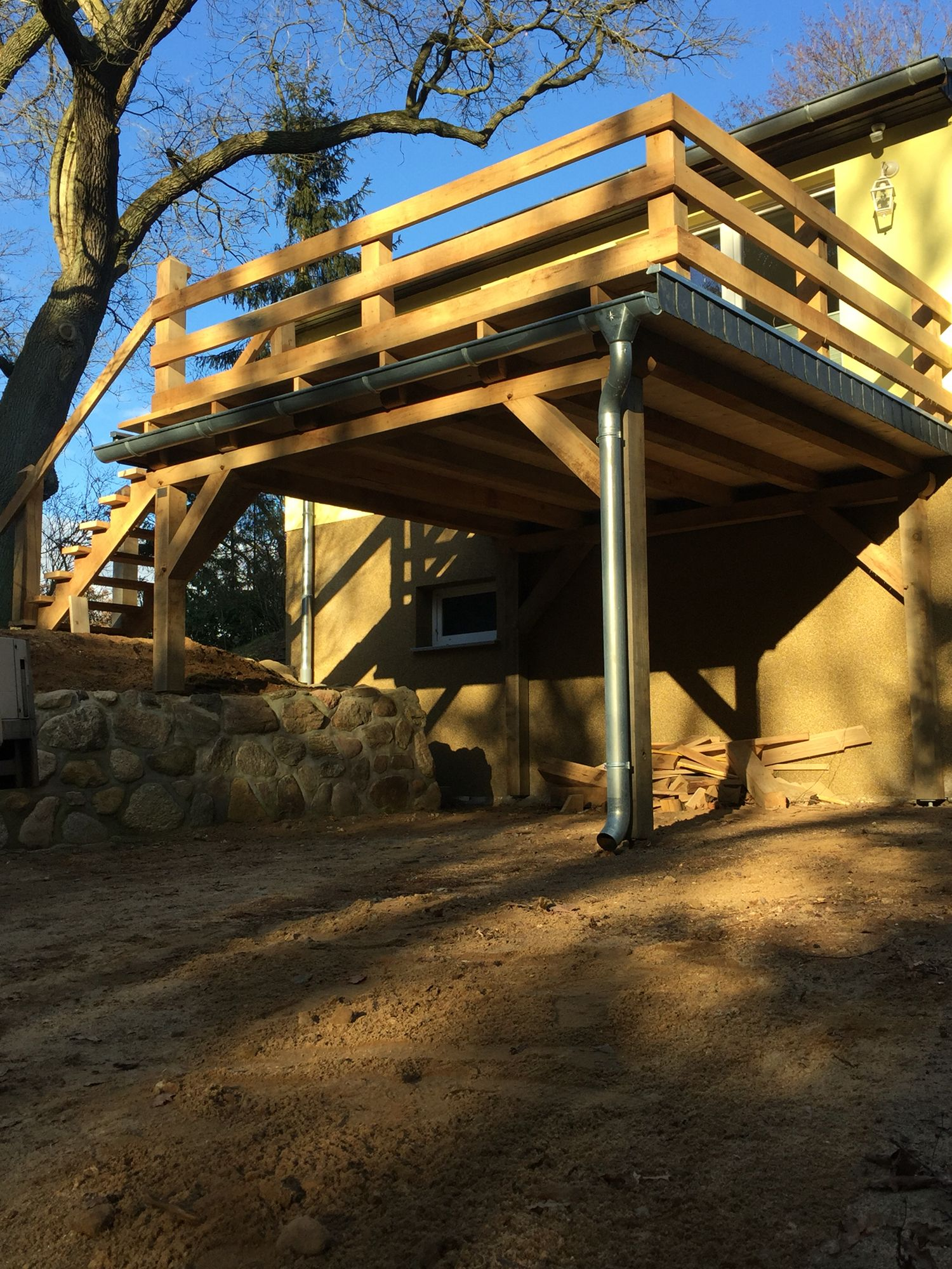 Balkon carport eiche schiefer oak wood selfmade old for Balkon carport
