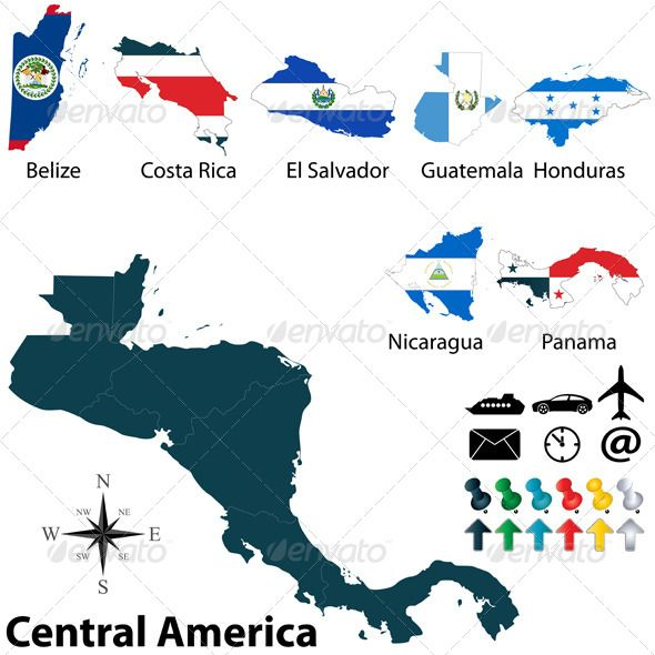 Political Map of Central America #GraphicRiver Vector of ...