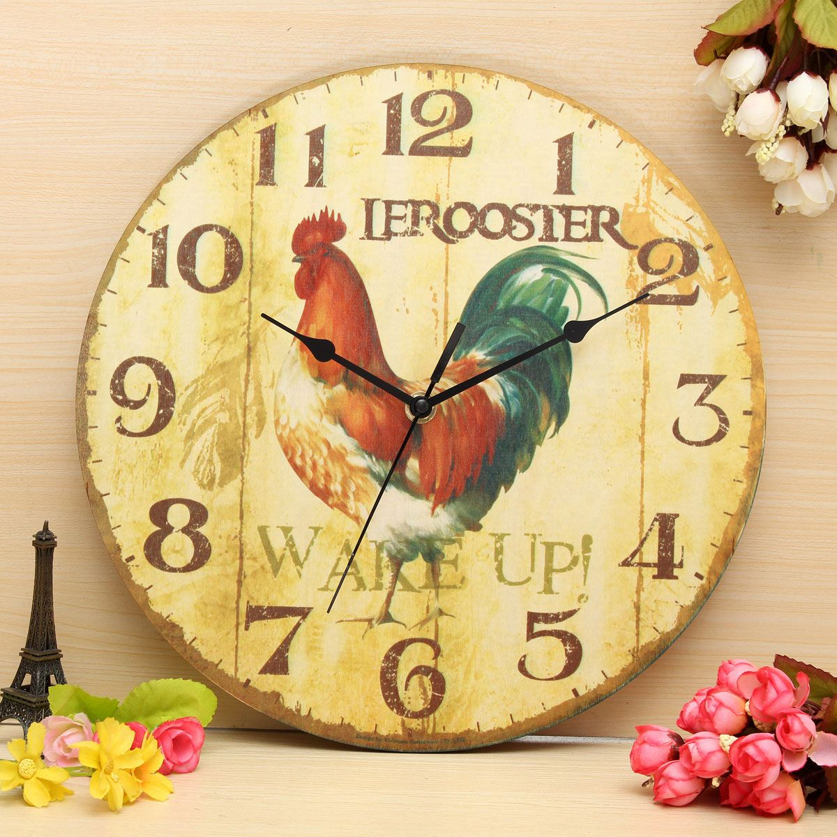 Vintage Wall Clock Retro Zakka Rustic Art Shabby Wooden Clock Home ...