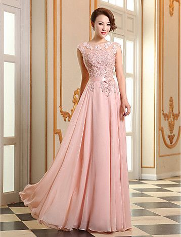 A-line Jewel Floor-length Georgette Evening Dress (LF196) - EUR € 51.05