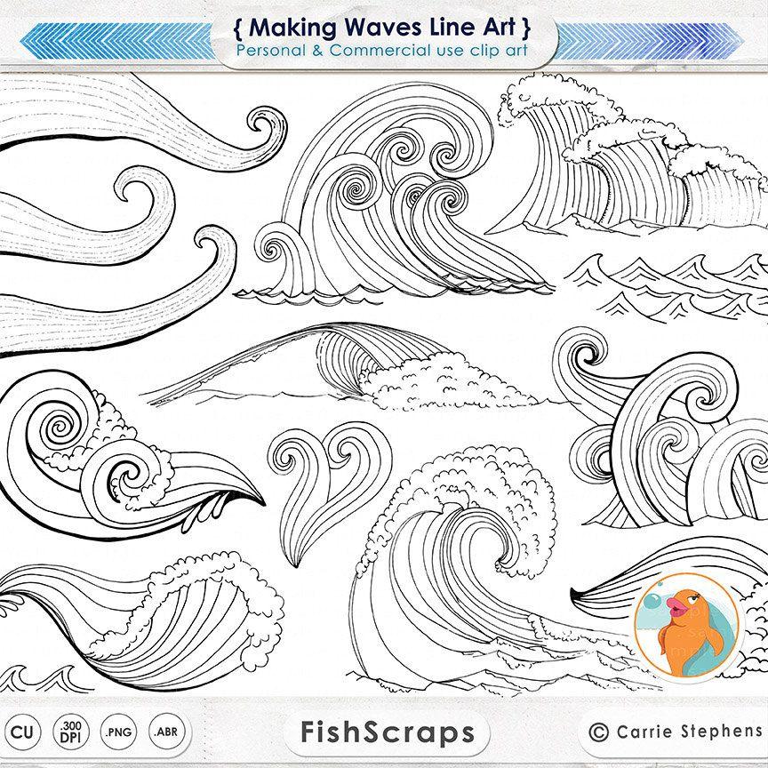 Wave Line Art Silhouettes Water Clip Art Coastal Clipart Ocean