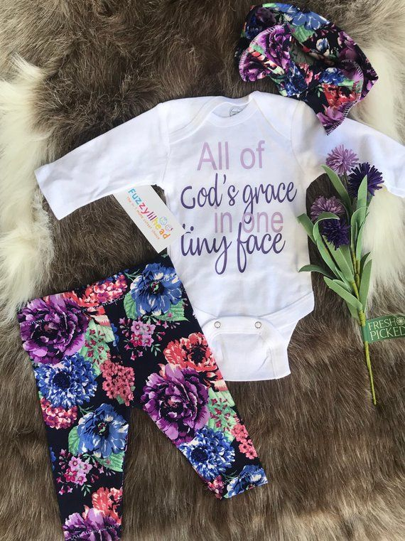 Photo of Beautiful floral spring baby Girl going home outfit, coming from hospital outfit, girl clothing set , floral legging matching headband l