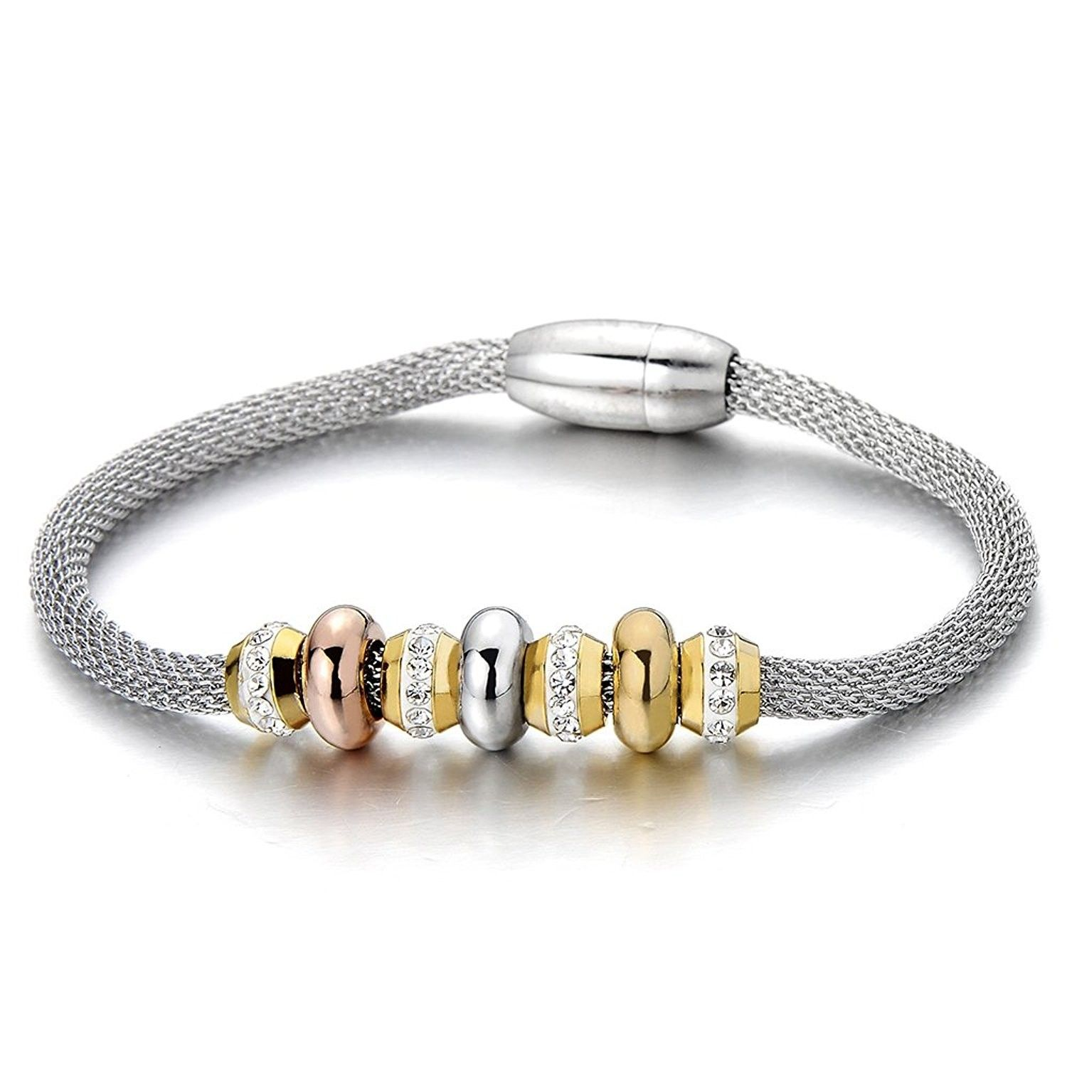 Stainless steel charm bracelet for women and girls with stainless