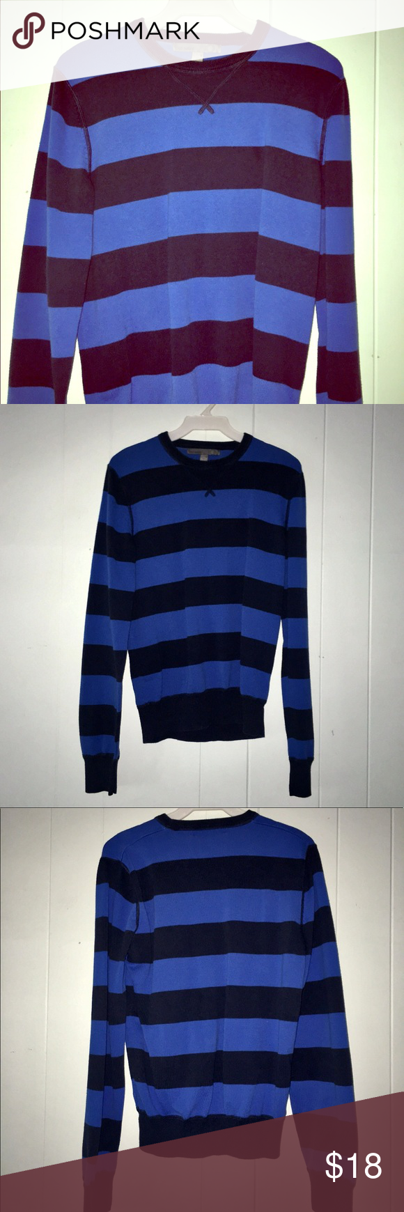 Old Navy Blue & Black Striped Sweater | Striped sweaters, Stains ...