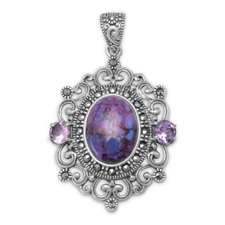 Sterling silver ornate marcasite purple turquoise amethyst sterling silver ornate marcasite purple turquoise amethyst pendant aloadofball Gallery