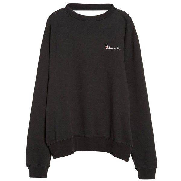 Vetements Reversible Double Crewneck Sweatshirt ($665) ❤ liked on Polyvore featuring tops, hoodies, sweatshirts, oversized sweatshirt, vintage crew neck sweatshirts, oversized tops, slouchy crew neck sweatshirt and long sleeve sweatshirt
