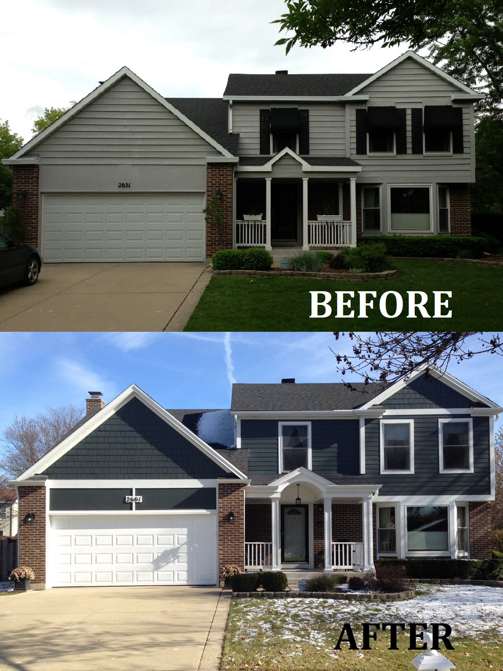 James Hardie Siding And Porch Resdesign Arlington Heights Red Brick House Exterior Brick Exterior House Brick House Exterior Colors