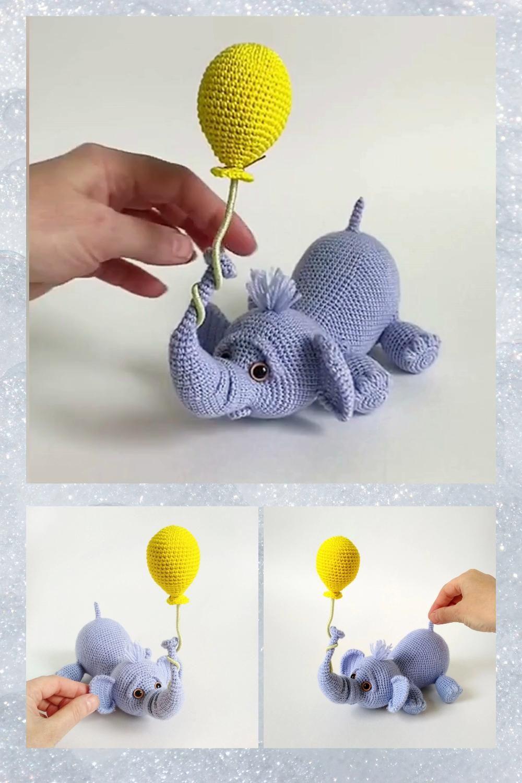PATTERN crochet elephant, crochet animal pattern, stuffed animal pattern, elephant baby toy
