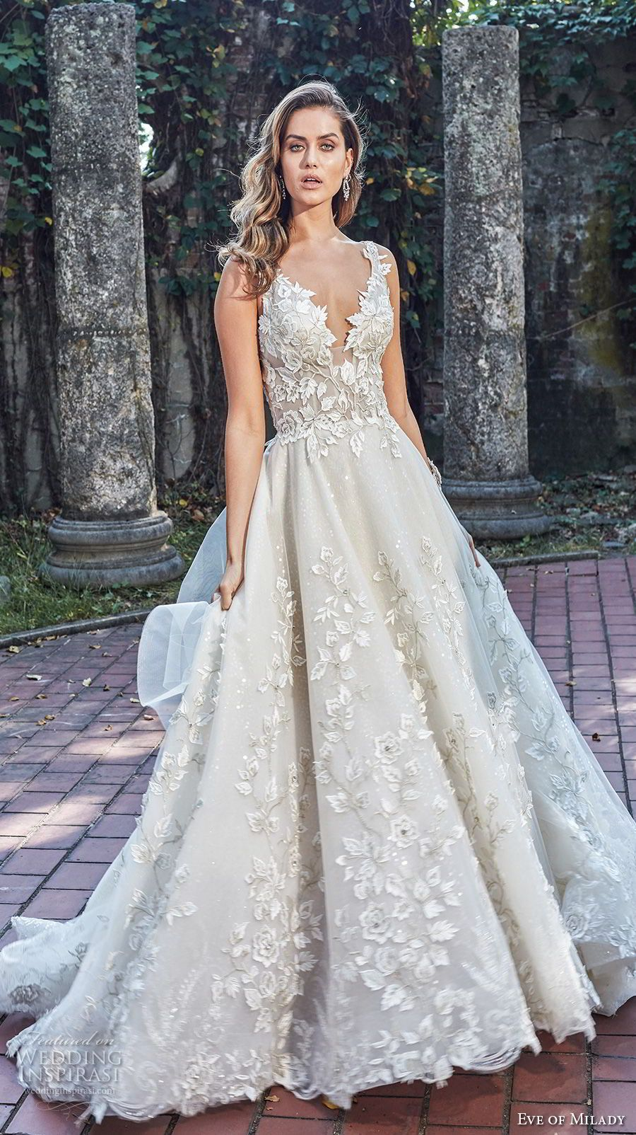 383ceb9302f eve of milady spring 2018 bridal sleeveless deep v neck full embellishment  romantic princess a line wedding dress open back chapel train (2) mv -- Eve  of ...