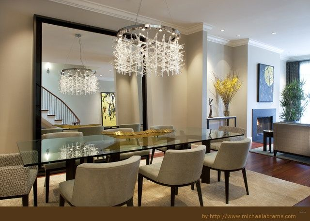 Dining Light Fixture With Modern Chandelier And Big Wall Mirror