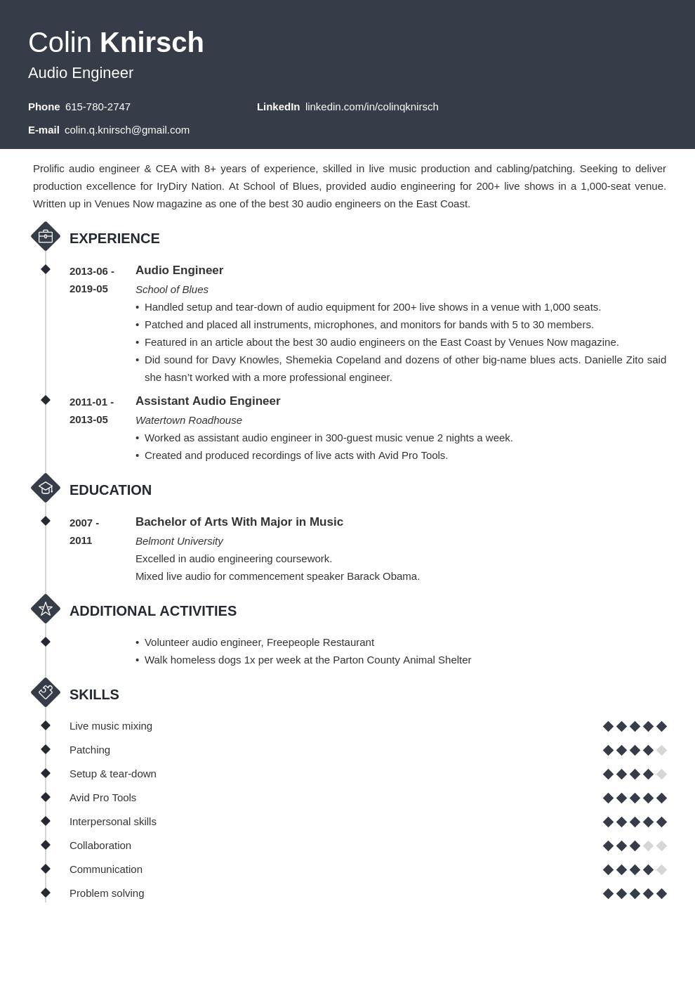Audio Engineer Resume Example Template Diamond Freelance Writer Resume Resume Examples Job Resume Examples