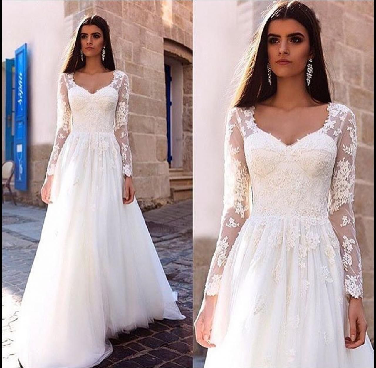 Long sleeve lace wedding dress lace ball gown vintage bridal gown