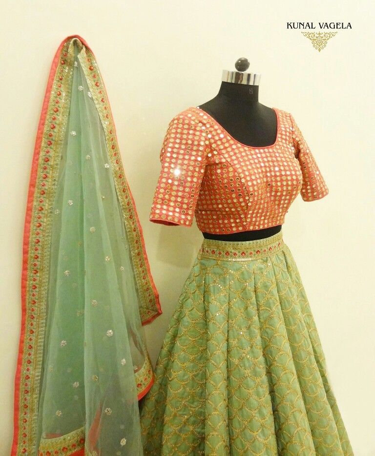 Mint Green And Pink Embroidered Lehenga Set