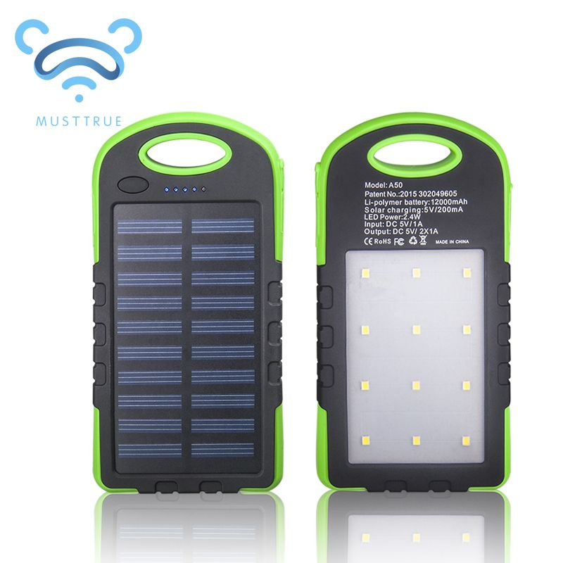 Musttrue Solar Power Bank Dual Usb Powerbank 12000mah External Battery Portable Charger Bateria Externa Pack For Mobile Solar Power Bank Powerbank Solar Power