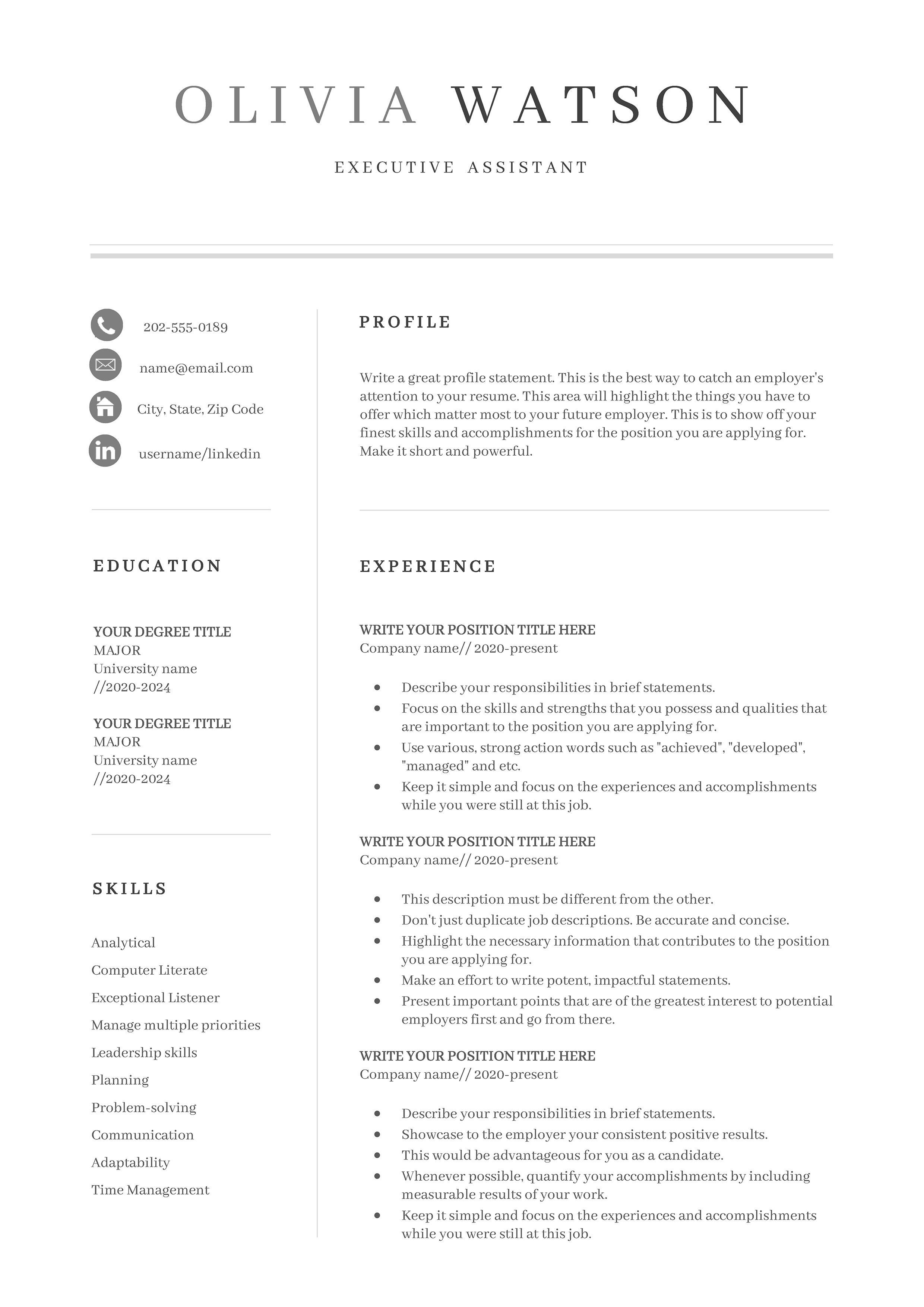 Resume Template Professional Resume Template Resume Etsy Resume Template Professional Resume Template Resume