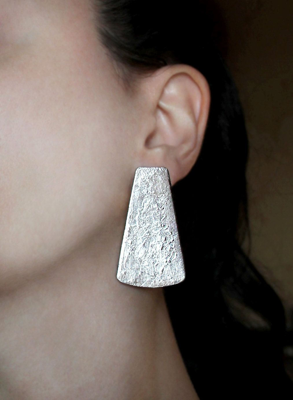 Non piercing nose pin  Large clip on stud earrings Bold silver studs Big earrings Special