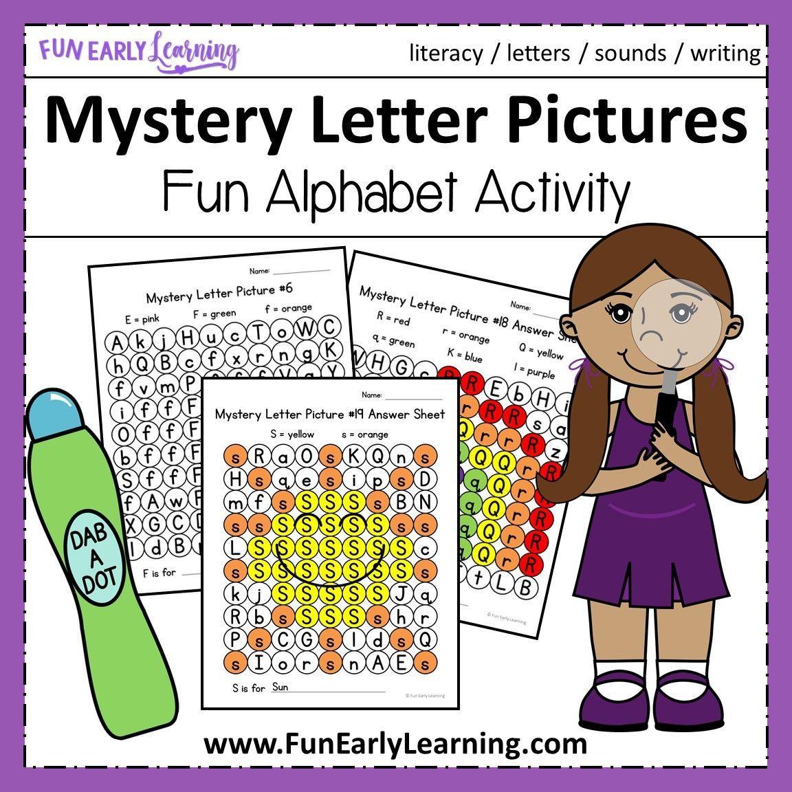 Mystery Letter Pictures Alphabet Activity For Preschool And Kindergarten Alphabet Activities Picture Letters Letter Learning Activities [ 1152 x 1152 Pixel ]