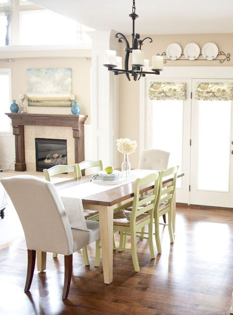 Kitchen Table Redo: Mixed paint colors and chair styles. | Home on ideas for redoing bars, ideas for redoing coffee table, ideas for redoing dressers, ideas for redoing fireplaces, ideas for redoing cabinets, ideas for redoing dining room table, ideas for redoing bedroom, ideas for redoing hutches, ideas for redoing desks,