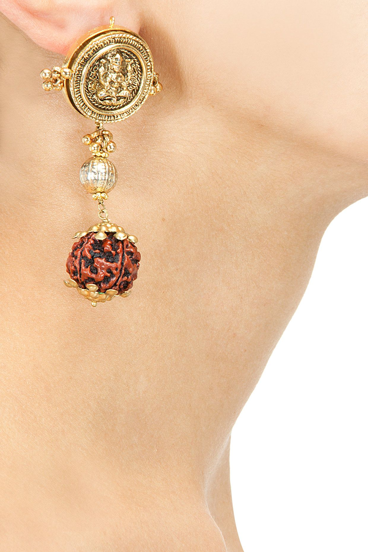 Goddess lakshmi earrings with rudraksh hanging available only at
