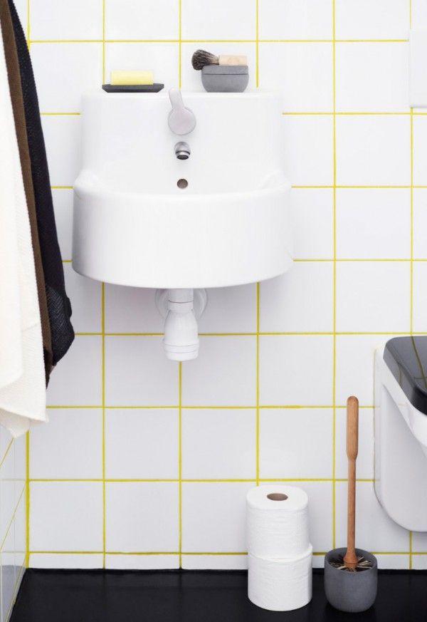 Wei e fliesen gelbe fugen bathroom - Fliesen farbig ...