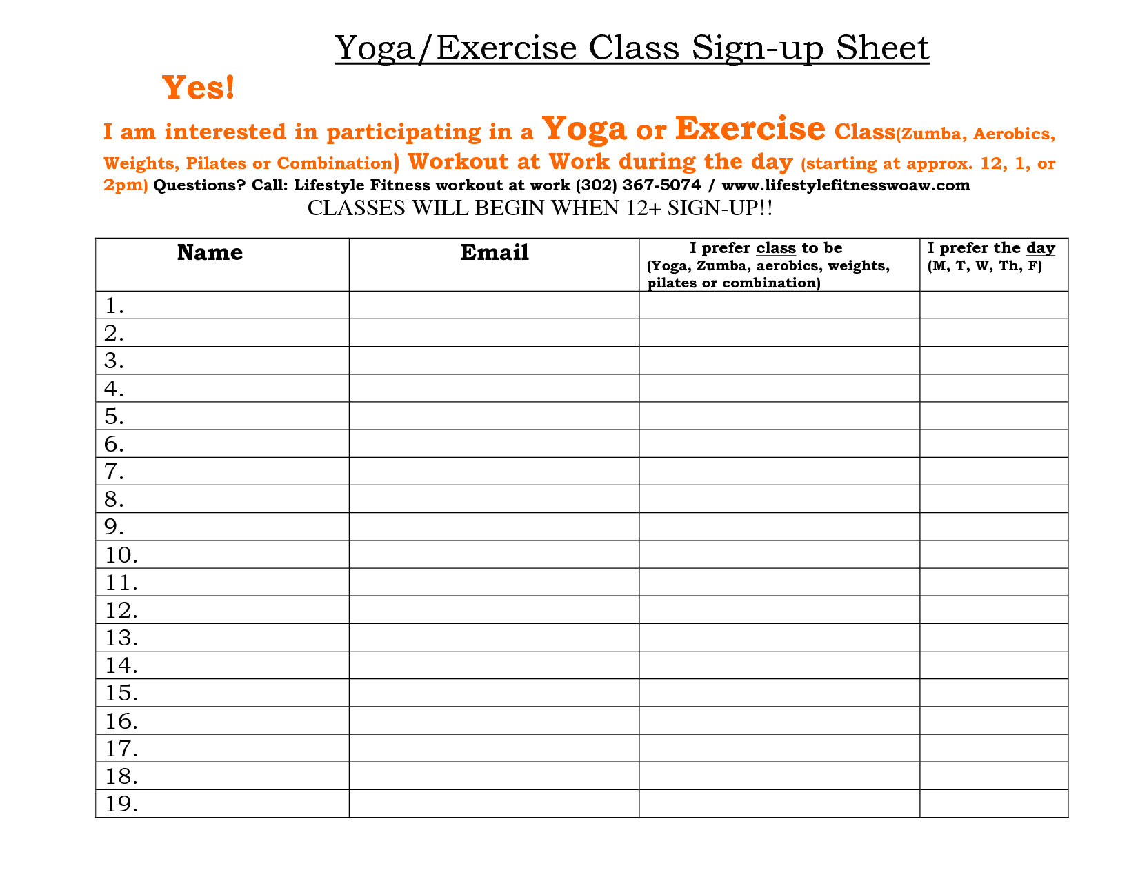 Fitness Sign Up Sheet  Teacher Staff SignUp Sheet  Workout