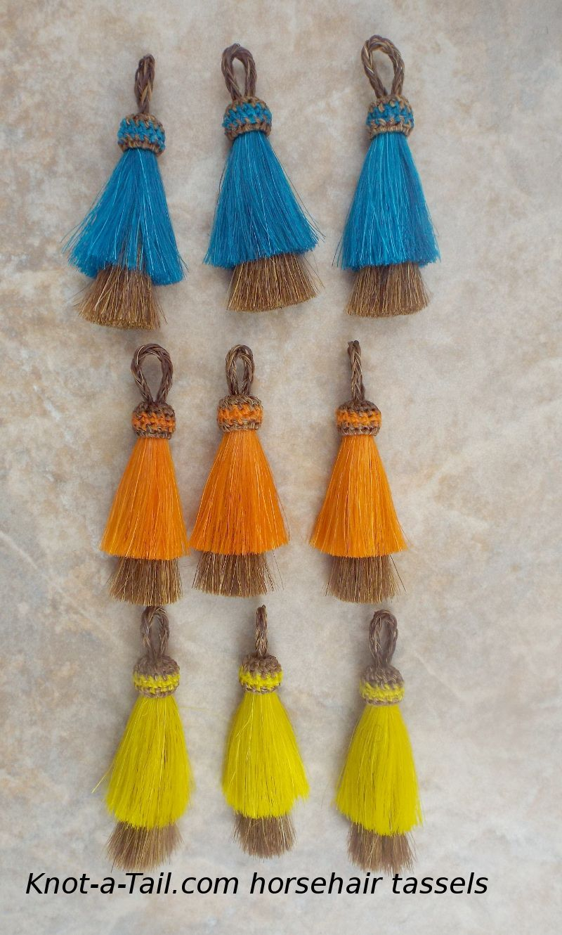 Hand-dyed horse hair tassels Unique colors like no-other. perfect for #horsehair necklaces  http://knot-a-tail.com/node/40