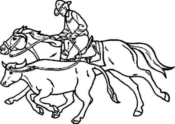 Cowboy, An Expert Cowboy Catch Bull Coloring Page: An ...