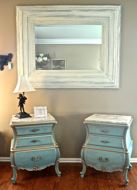 unique hollywood regency vintage mid century end stands in provence and duck egg blue meubles. Black Bedroom Furniture Sets. Home Design Ideas