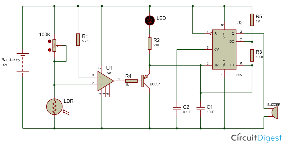 Automatic Light Fence Circuit With Alarm Circuit Diagram Circuit Electronics Circuit
