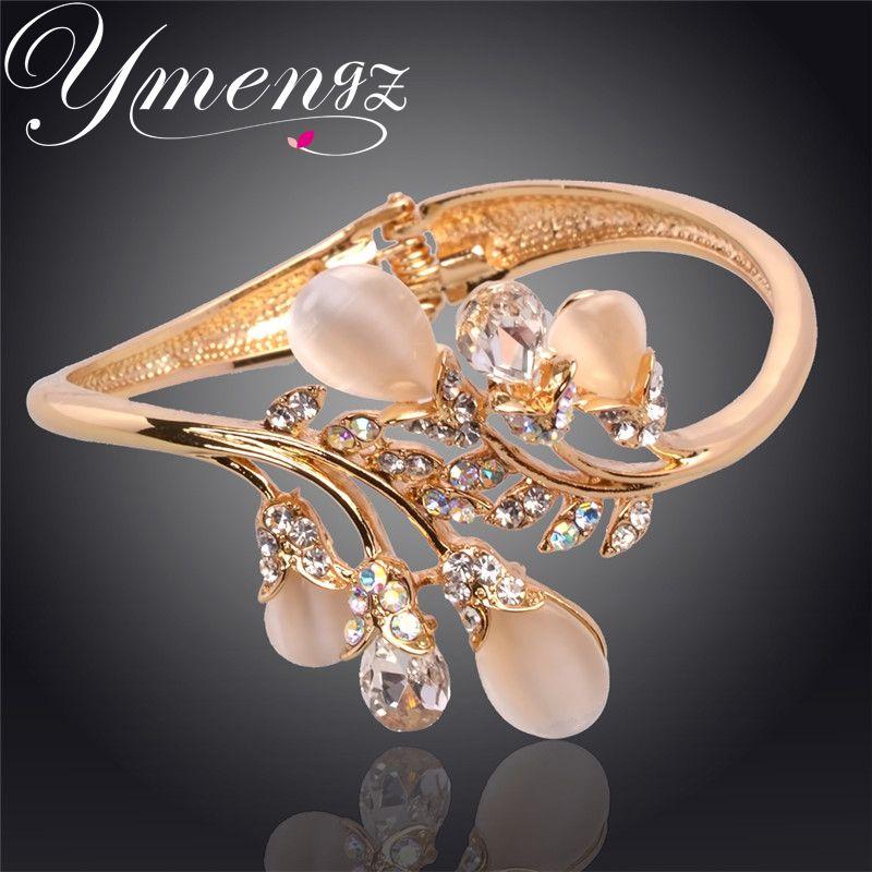 YMENGZ Wassertropfen Geformt Gold Überzogen Shinning Kristall Armbänder Armreif Für Frauen Modeschmuck Großhandel