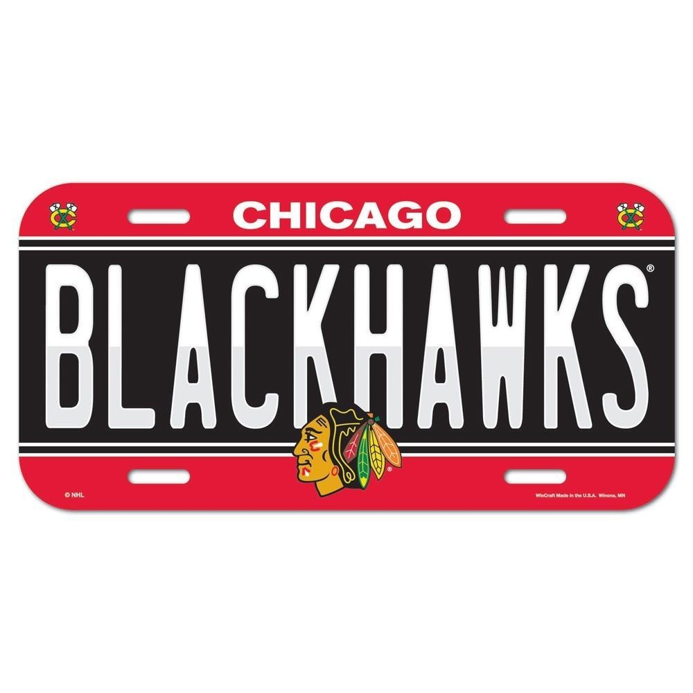 Chicago blackhawks official nhl 6x12 plastic license