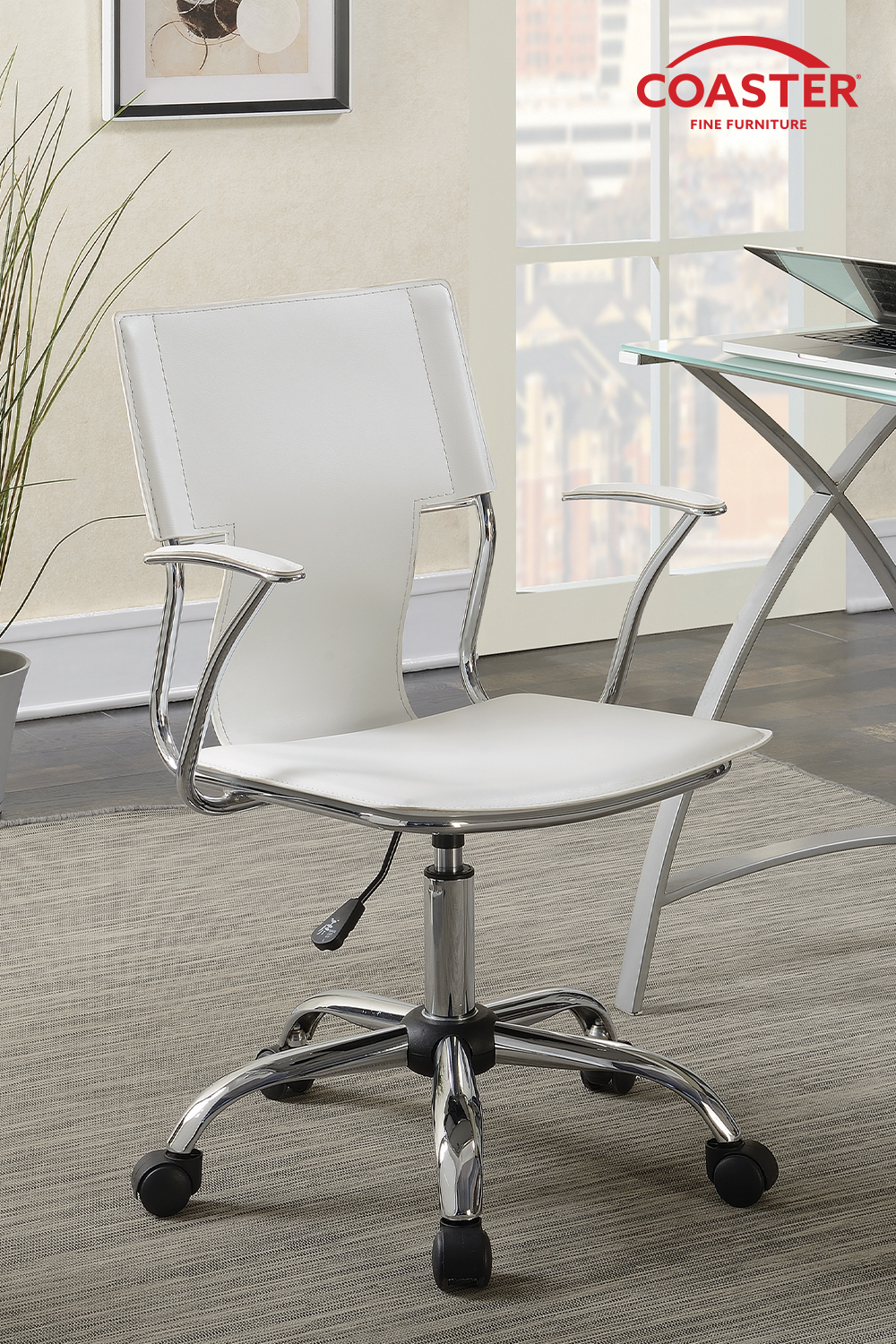 Modern White Adjustable Office Chair In 2020 White Office Chair Adjustable Office Chair Coaster Fine Furniture