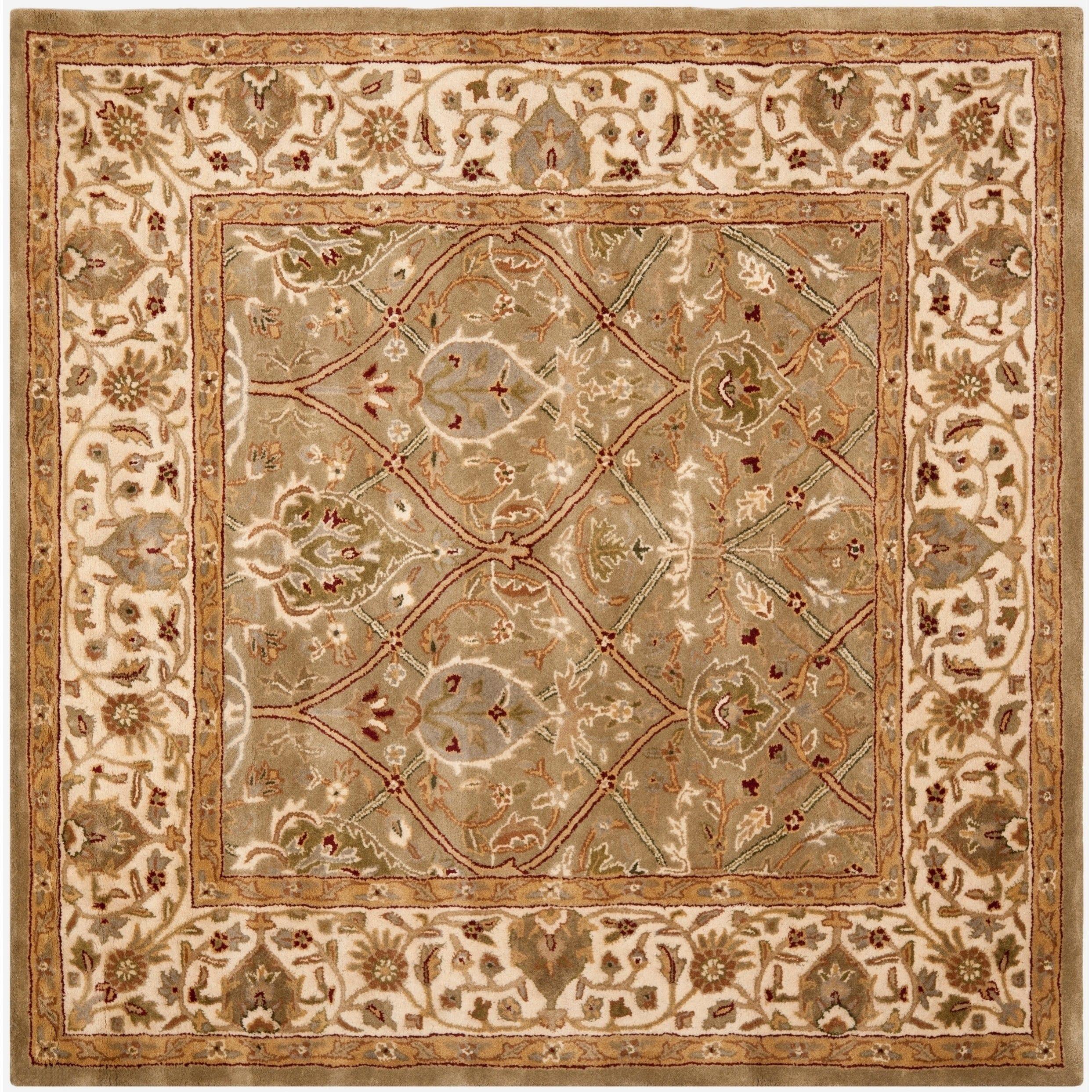 Safavieh Handmade Mahal Green Beige New Zealand Wool Rug 6 X 6