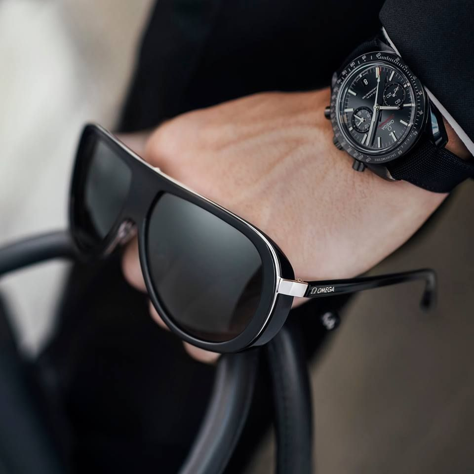 Omegamychoice Now You Can Get The Complete Look Omega Has Joined The World Of Luxury Eyewear Our New Pilot Style Sunglasses For Men In Black Acetate And Omega