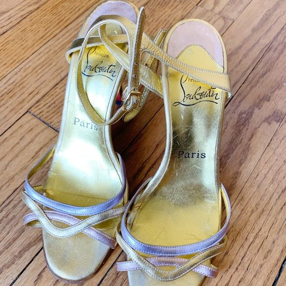 e99a79b5103 Christian Louboutin Gold Heels Christian Louboutin Paris Authentic Gold  heels with silver and rose gold accents Size 38.5 - fits an 8 Red bottoms  Feel free ...