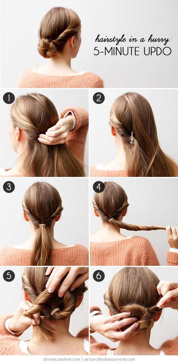 Hairstyle In A Hurry A 5 Minute Updo More Hair Styles Hair Hacks 5 Minute Hairstyles