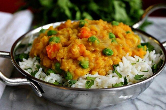 Curried Vegetable Dal over Cilantro Lime Rice by Parsley In My Teeth #vegan #vegetarian