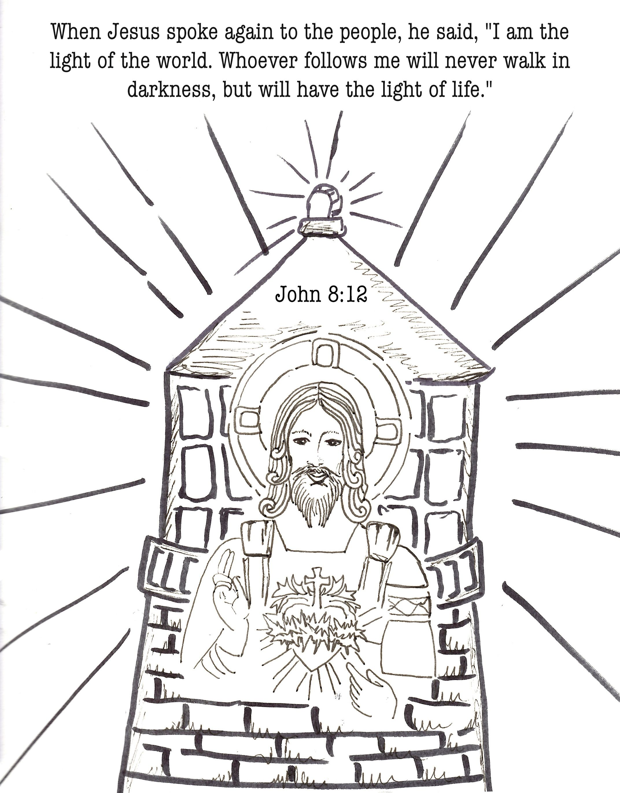 Free catholic coloring bible journaling scripture john 812 light of the world jesus is our guide