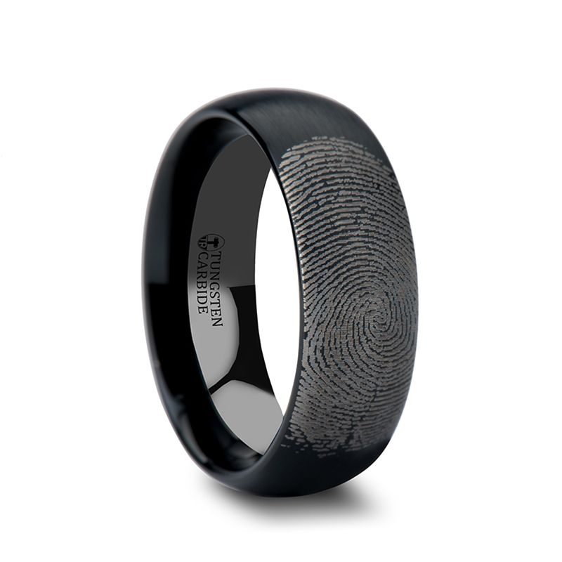 Fingerprint Engraved Domed Black Tungsten Ring With Brushed Finish 4mm 12mm Black Tungsten Rings Fingerprint Ring White Gold Vintage Rings