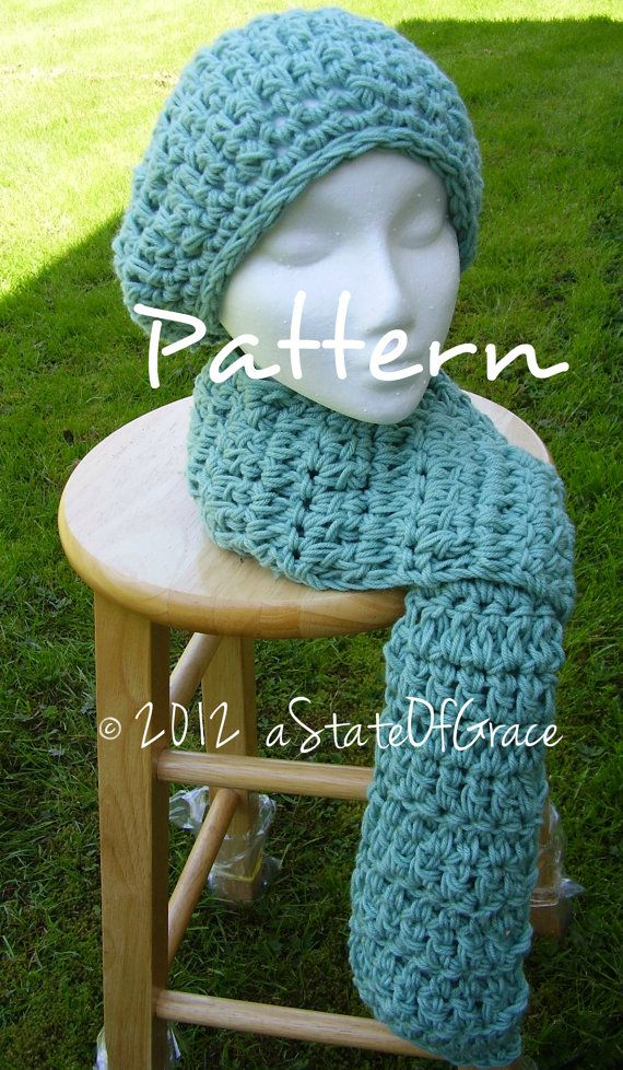 Slouchy Beret and Scarf PATTERN, Quick and Easy Crochet, Aviator ...