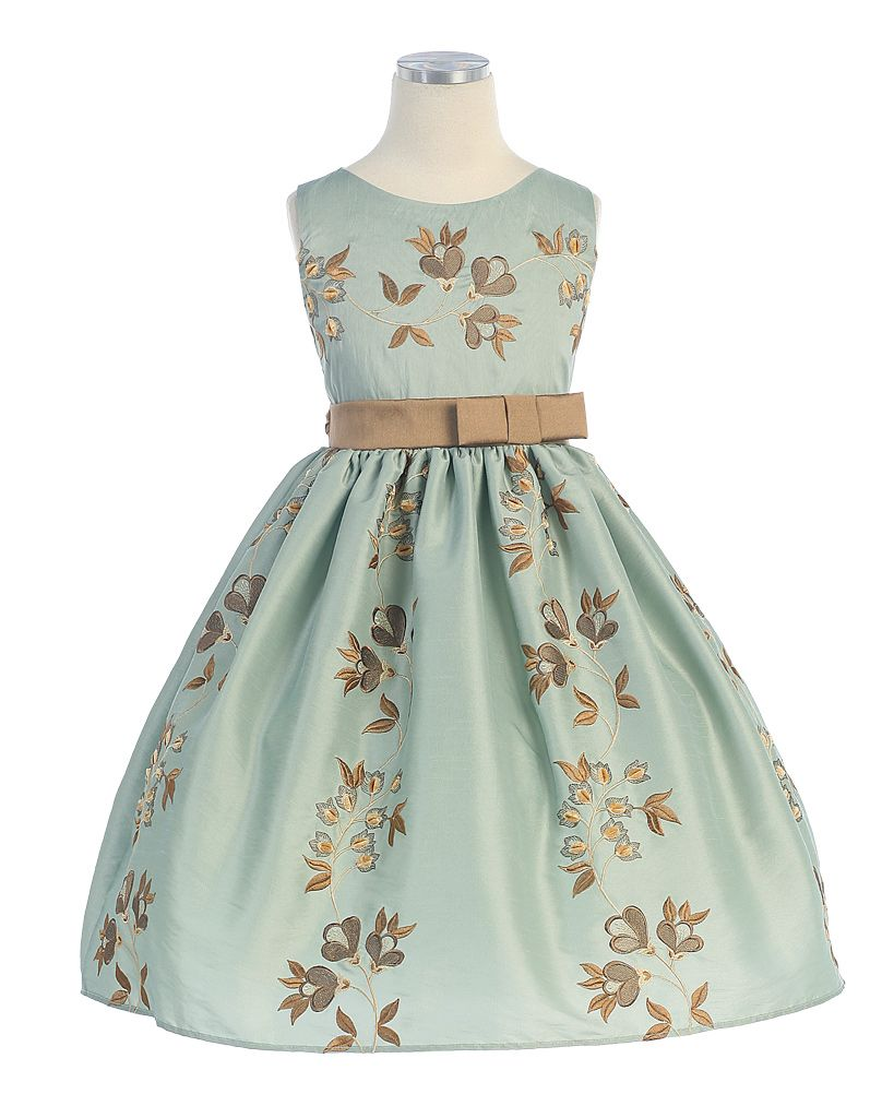 Flower girl holiday dress style sleeveless embroidered